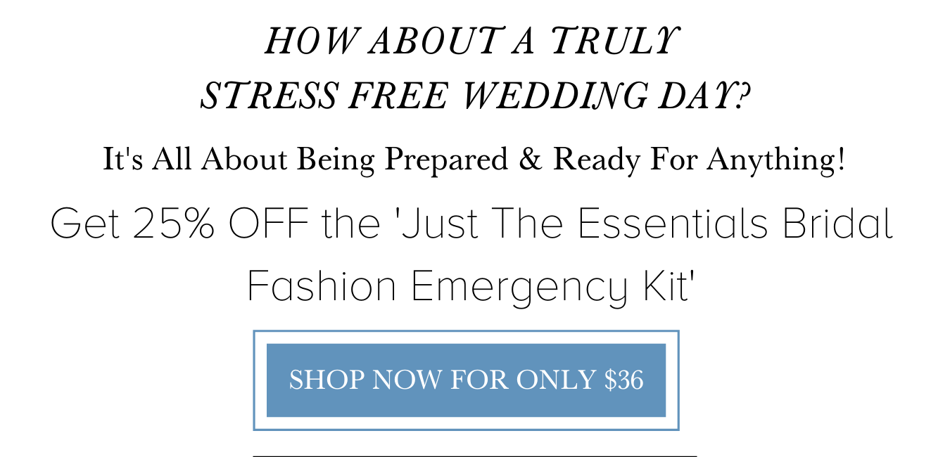 Shop the essential bridal fashion emergency wedding day kit from The Garter Girl