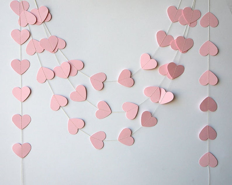 heart paper garland for bridal shower