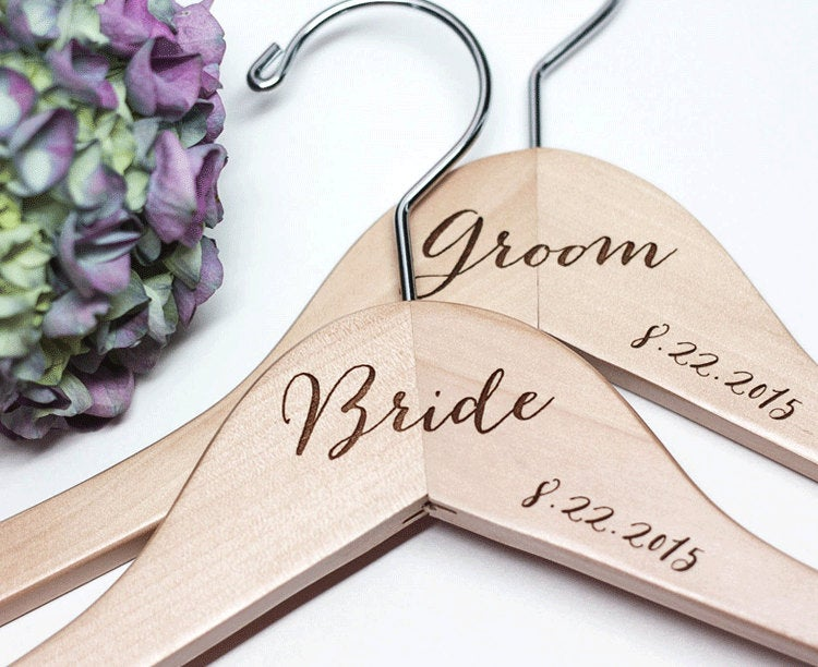 Bride and Groom Engraved Calligraphy Hangers