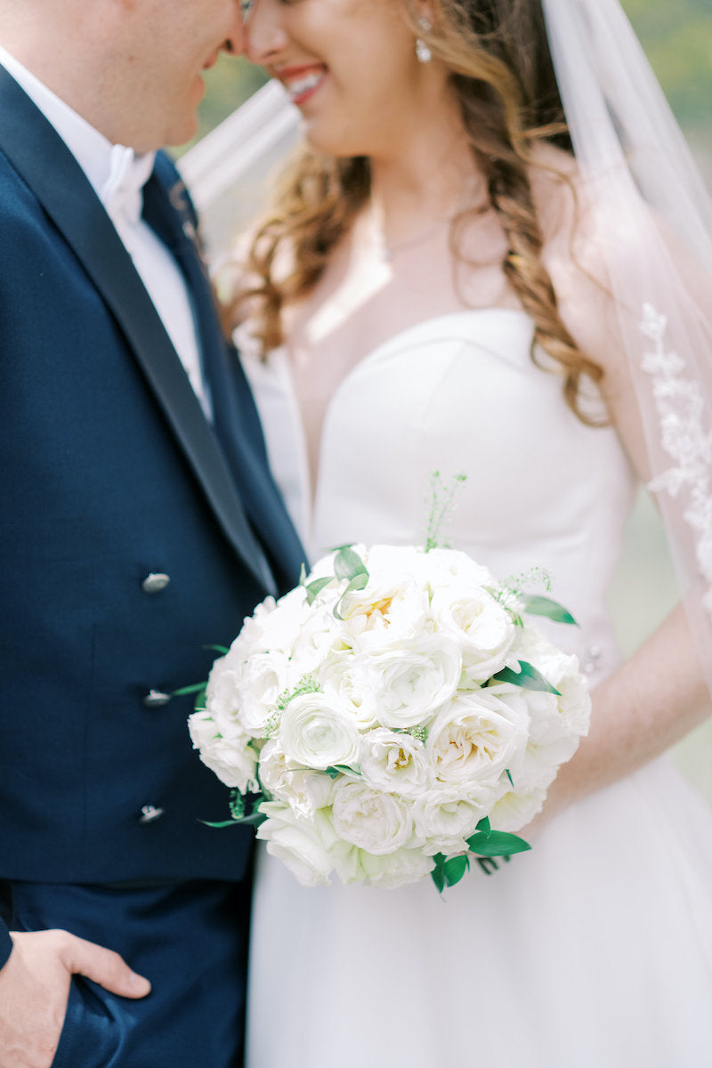 Bride and Groom White Peony Bridal Bouquet
