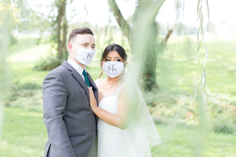 Bride and Groom with Custom Face Masks