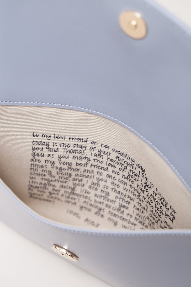 Bride Clutch with Personalized Message Inside Bridal Shower Gift