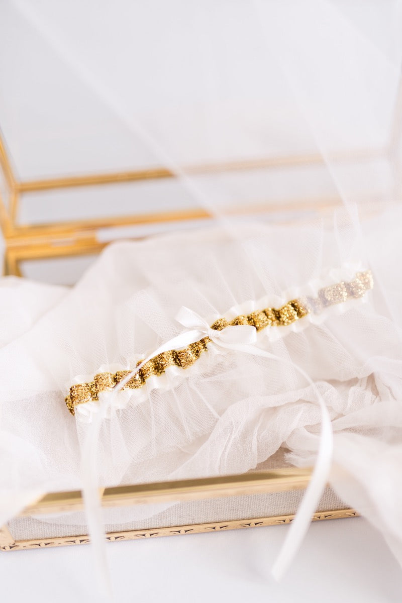 gold and tulle wedding garter - Florida wedding