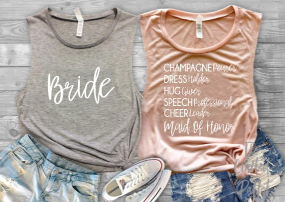 bride and maid of honor wedding engagement shirts