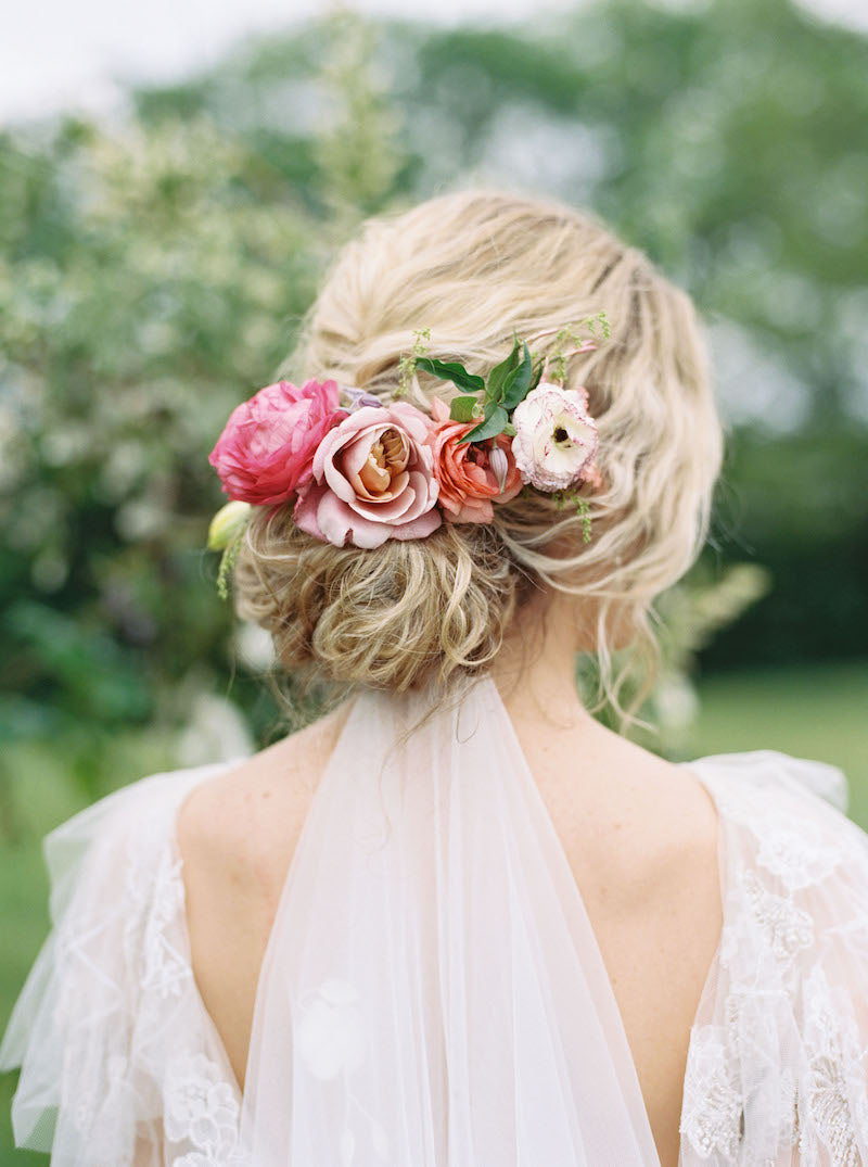 Bride with Pink Flowers in Hair