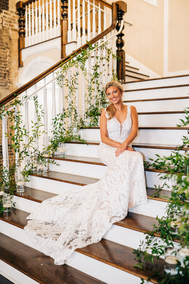Bride on Staircase Lace Bridal Dress