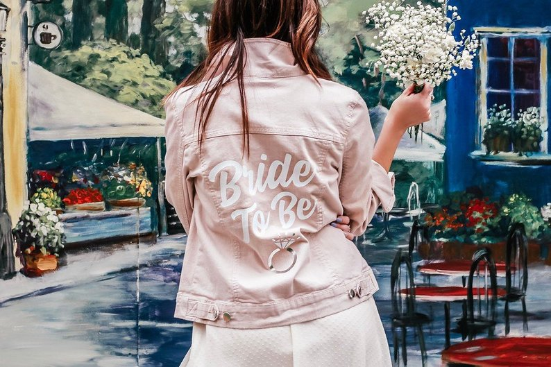 bride to be pink wedding denim jean jacket