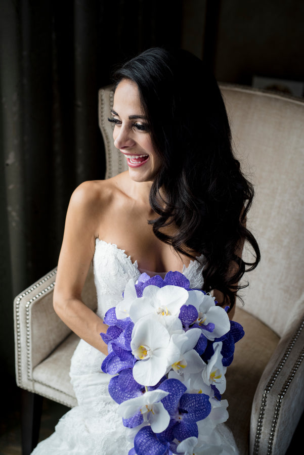 Bride with Purple Bouquet and Classic Curled Hair