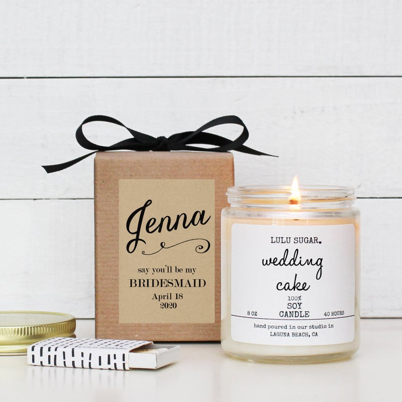 bridesmaid custom candle gift