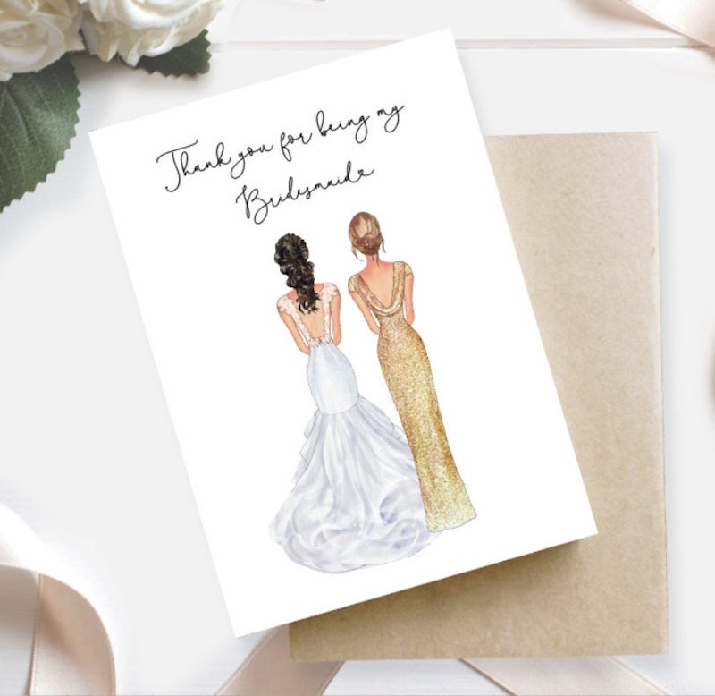Bridesmaid Portrait Thank You Card