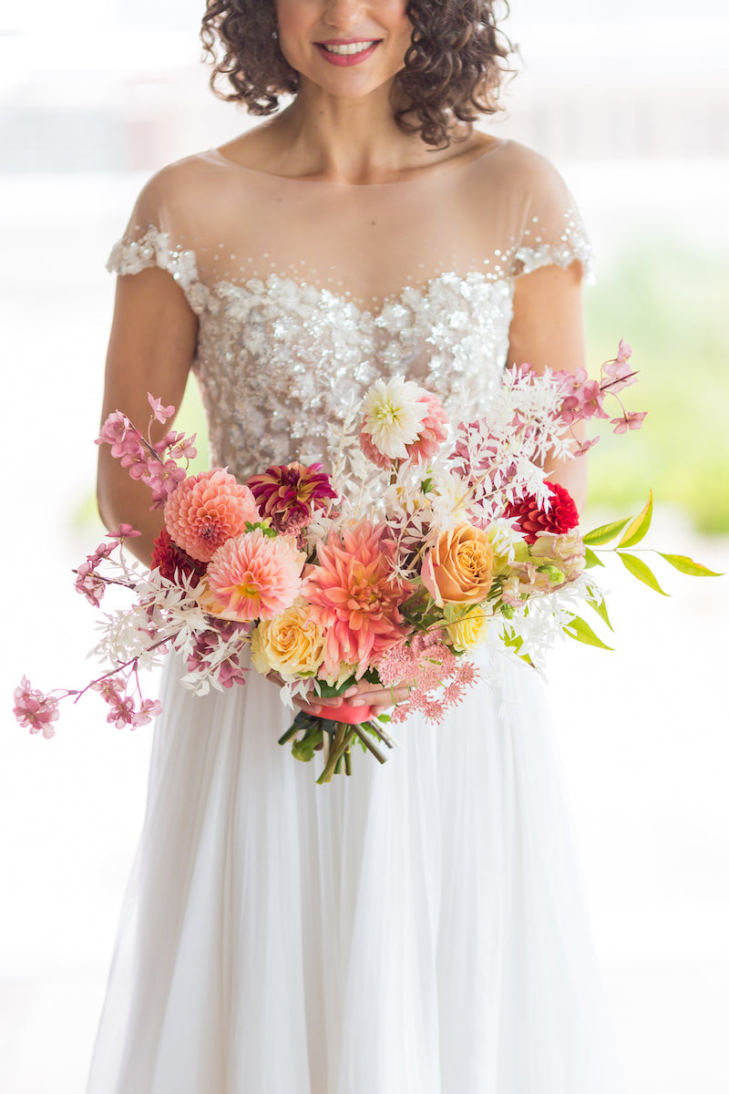 Bright Bridal Bouquet with Spring Flowers for Vow Renewal