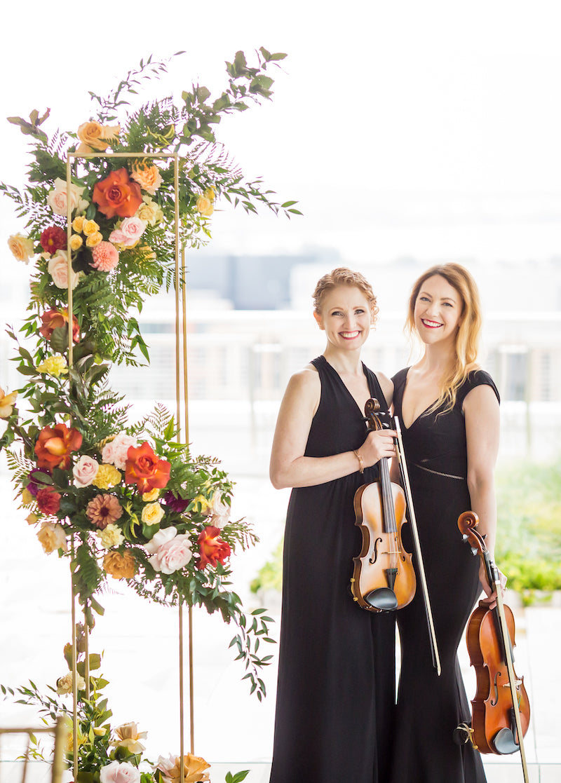 Violinists and Bright Florals at Vow Renewal