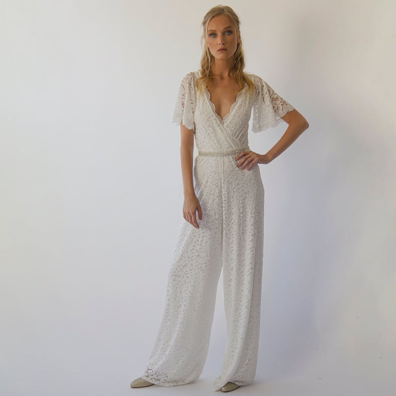 Butterfly Sleeve Lace Bridal Jumpsuit with Belt