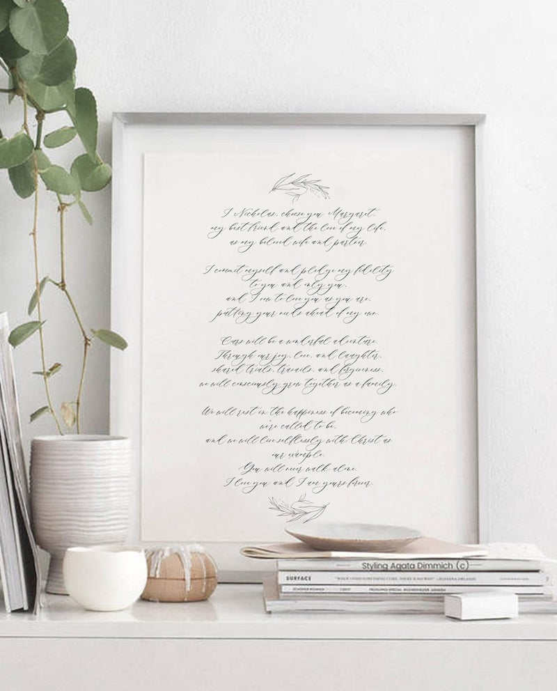 Calligraphy Wedding Vows Print