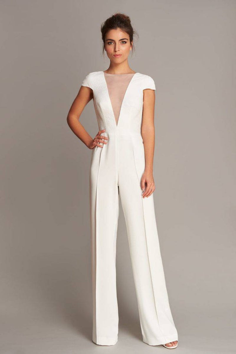 Cap Sleeve Wedding Jumpsuit with Plunging Neckline