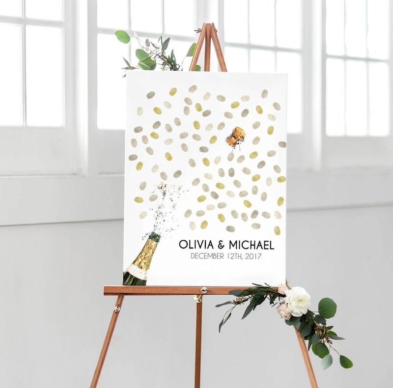 Champagne Wedding Guest Book Alternative Poster
