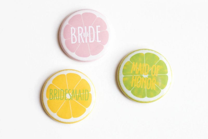 Citrus Bridal Shower Pins