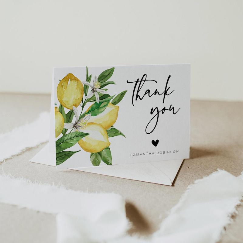 Citrus Lemon Thank You Card Template