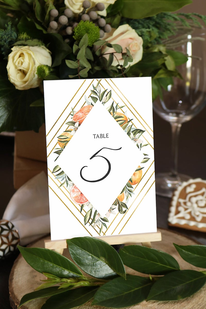 Citrus Wedding Table Number Template