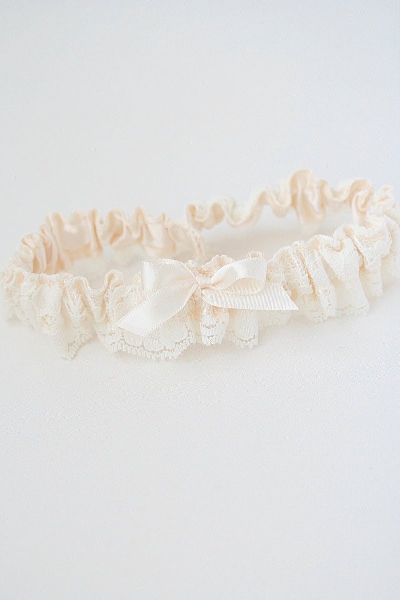 ivory satin and lace wedding garter