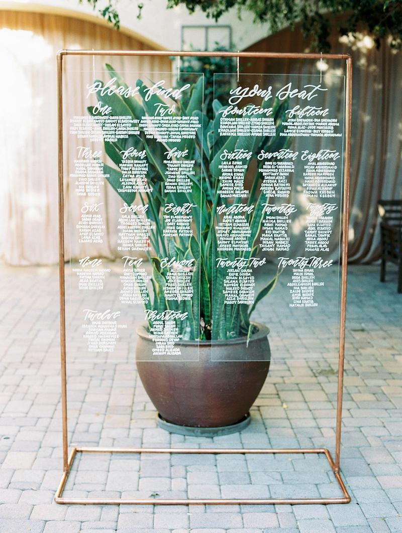 Copper Arch Wedding Seating Chart for Outdoor Weddings