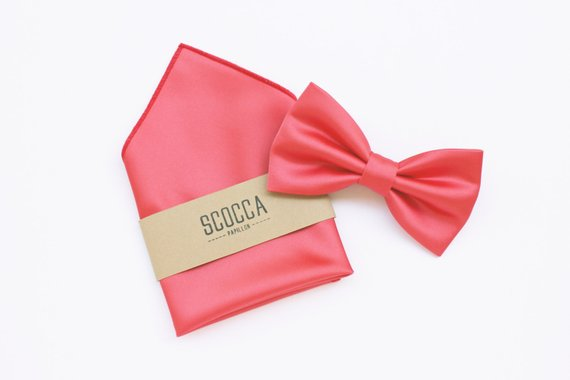 living coral wedding groom bow tie and pocket square