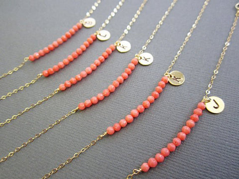 living coral bridesmaid jewelry wedding engagement gift