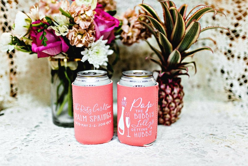Coral Can Koozies for Bachelorette or Wedding
