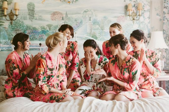 living coral wedding bride and bridesmaid robes