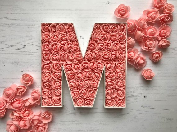 living coral flower initial wedding decor