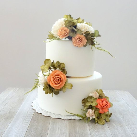 living coral wedding cake flower