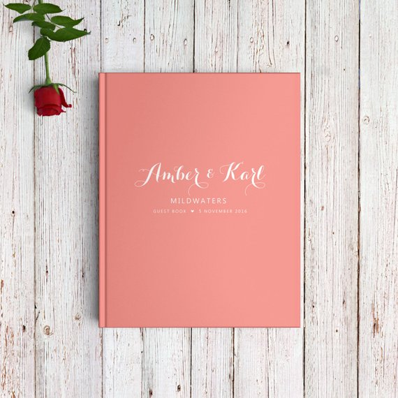 living coral wedding guest book