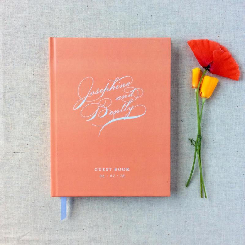 Coral Wedding Guest Book