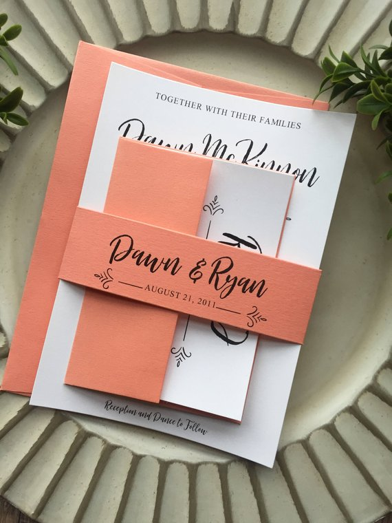 living coral wedding invitation