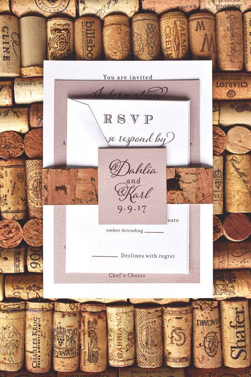 Cork Winery Wedding Invitation Suite