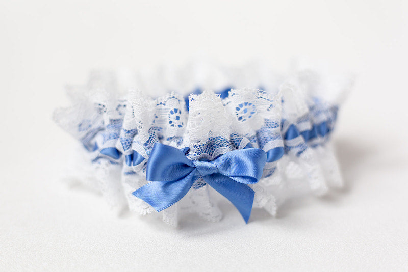 cornflower blue wedding garter set with off white lace