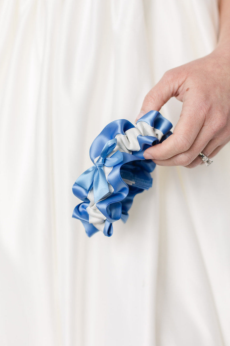 custom wedding garter with cornflower blue and ivory