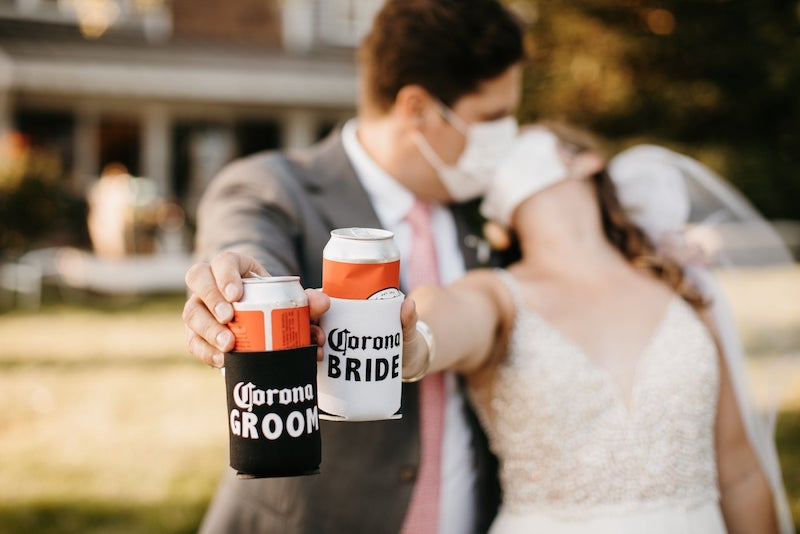 Corona Bride and Groom Can Coolers Pandemic Wedding
