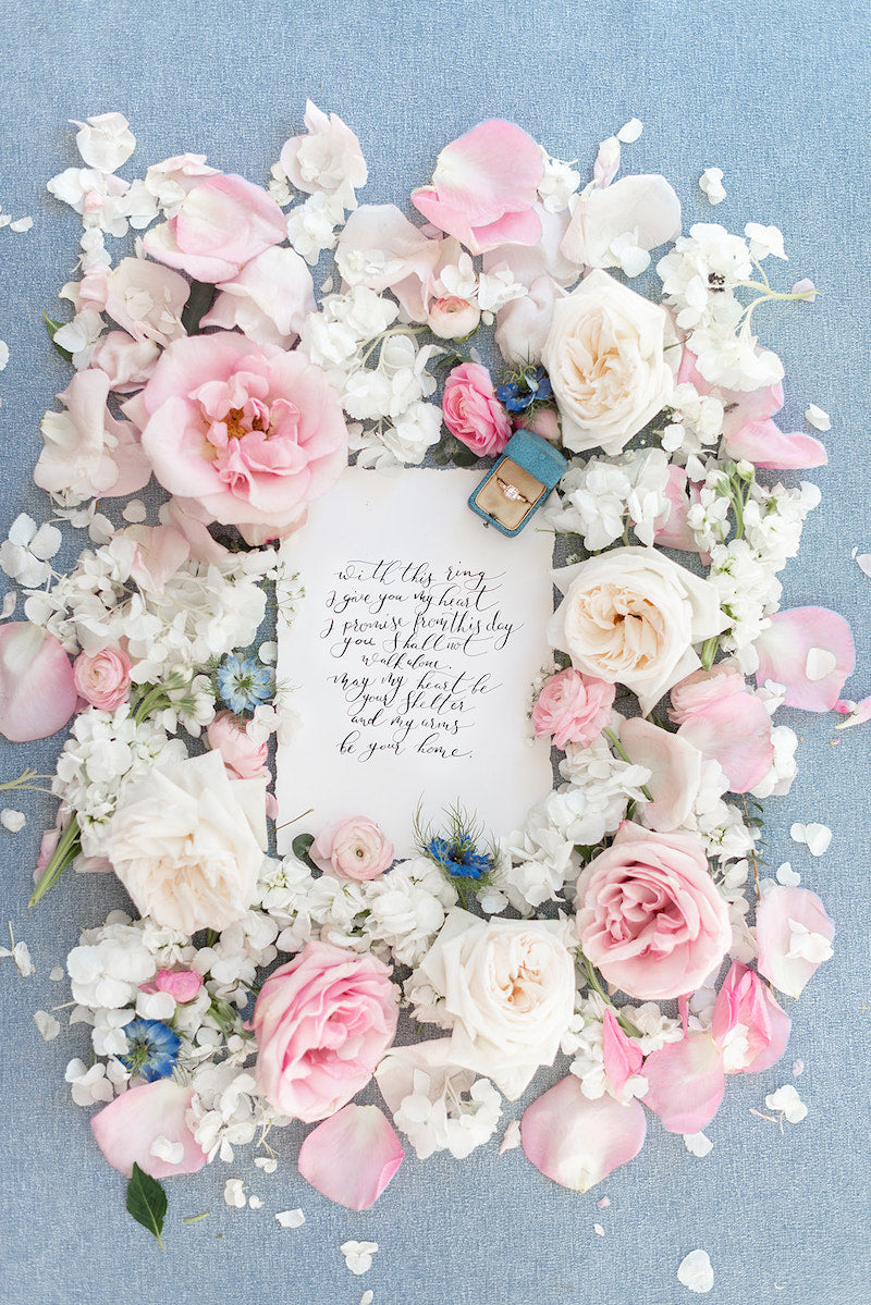 Flowers and Vows flatlay