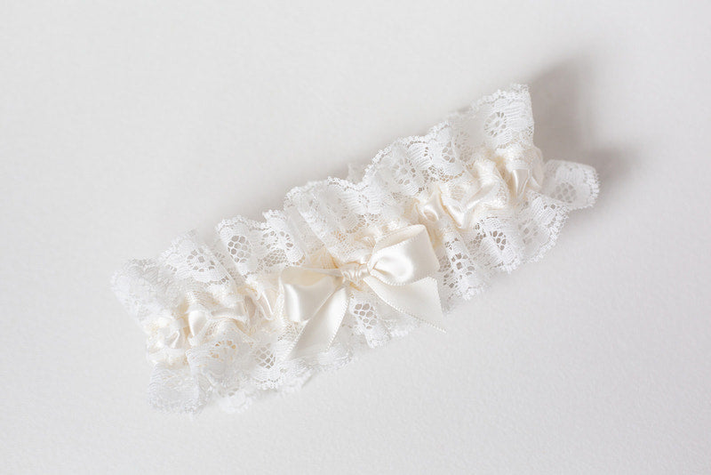 ivory lace garter lingerie for bride
