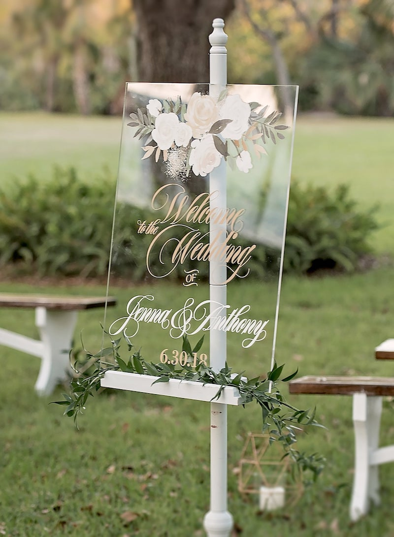 Custom Acrylic Floral Wedding Welcome Sign