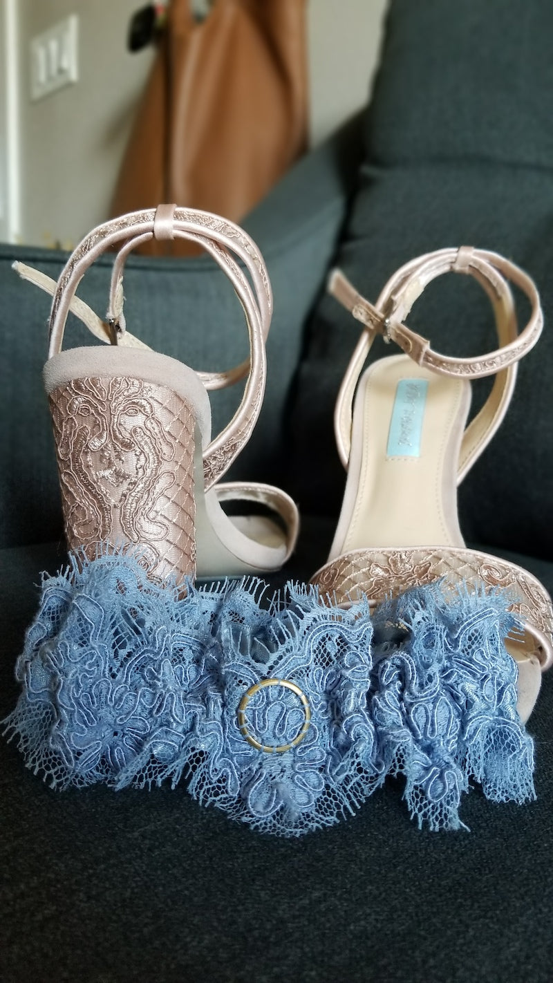 Custom Blue Lace Wedding Garter with Mom's Wedding Band Sewn In