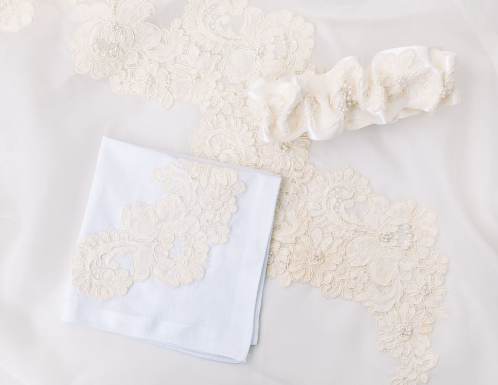 wedding garter and hankie made from mother's wedding dress