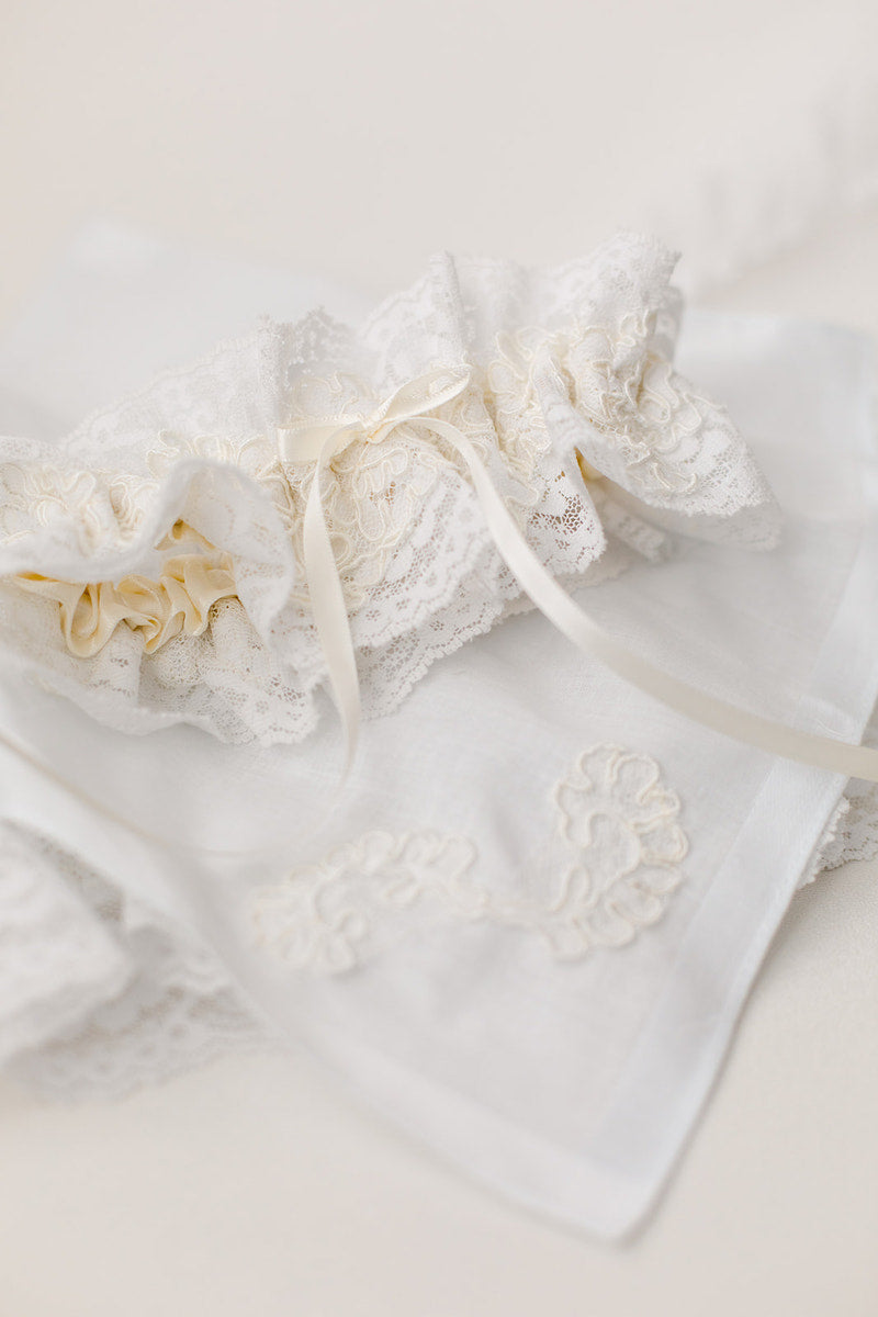 custom garter and hanky made from mother's wedding dress