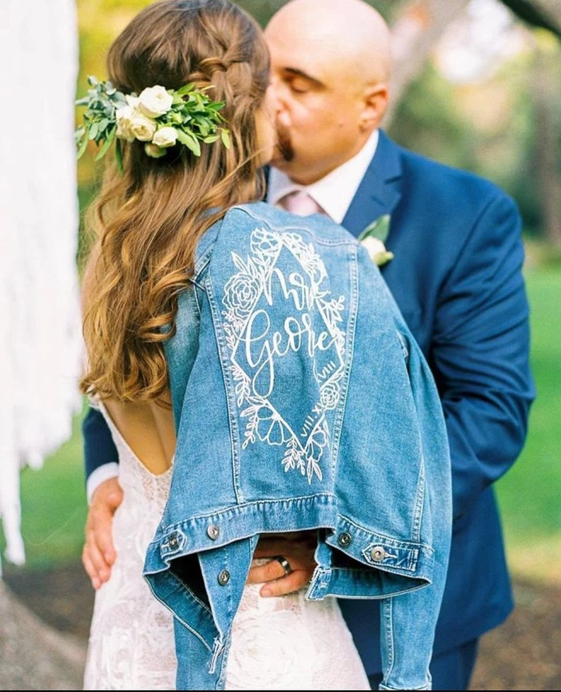 custom design wedding denim jean jacket
