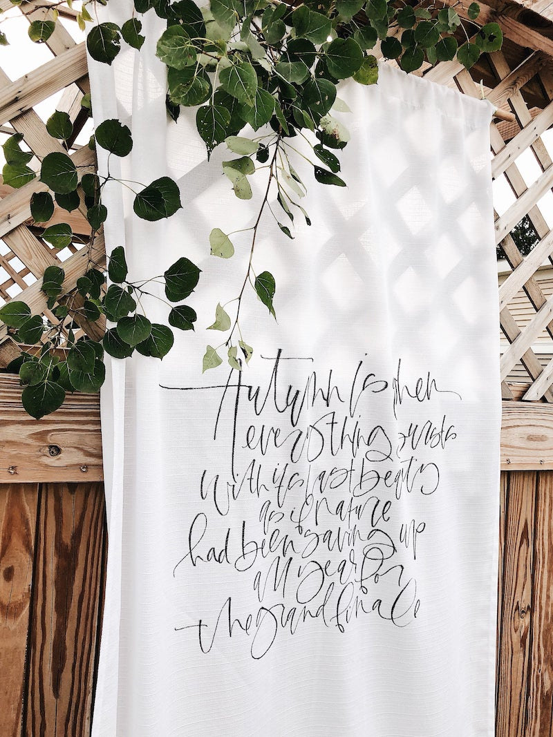 Custom Fabric Banner with Calligraphy Wedding Vows
