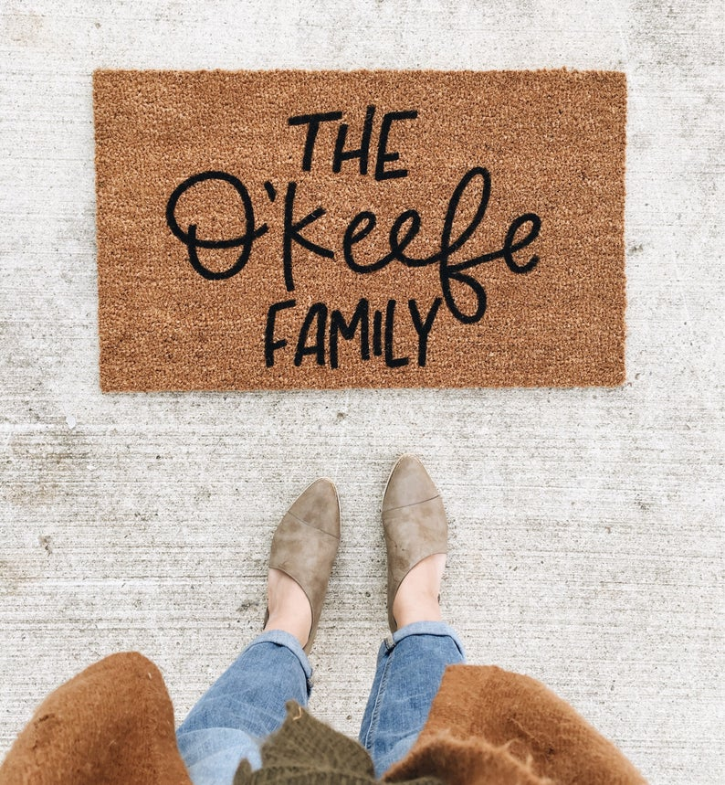 custom family name doormat gift