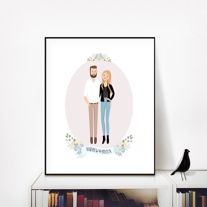 custom family portrait modern gift