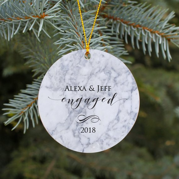 first christmas ornament for engaged couple