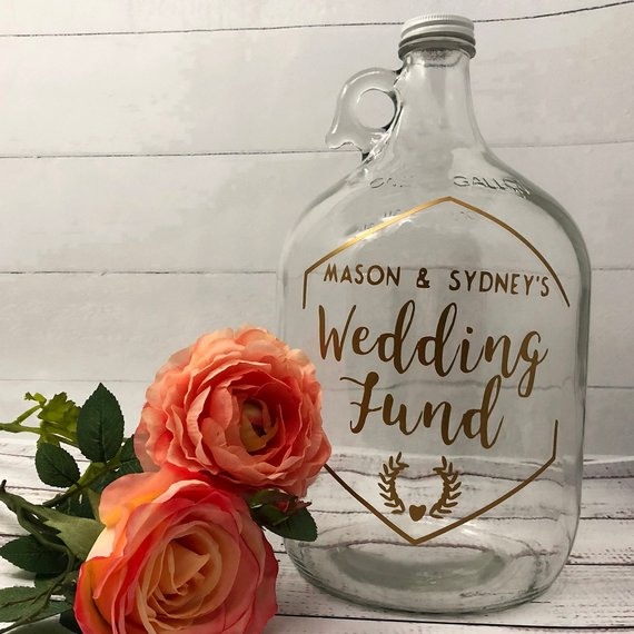 custom fund jar wedding engagement gift